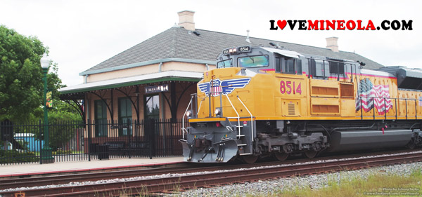 Mineola Texas Train Depot with Union Pacific Locomotive